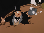 Penguin fires a gas bomb