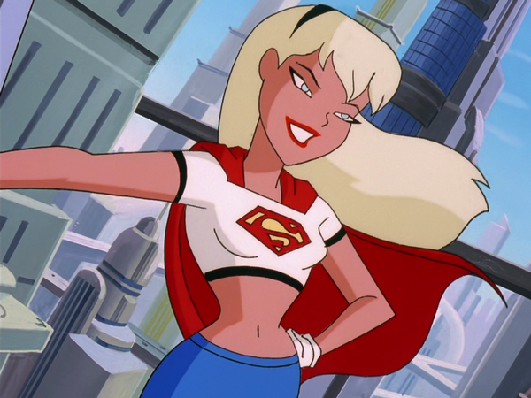 Supergirl's early uniform, exposing her deep belly button.