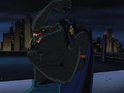 The werewolf and Batman fight