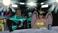 Lantern and Hawkgirl drink