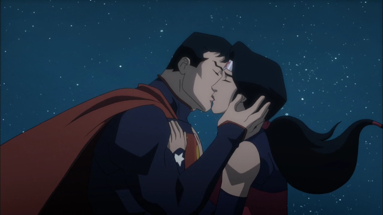 Image superman kisses wonder dc animated - Superman wonder woman cartoon ...