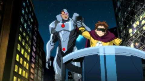 """Justice League vs. Teen Titans clips """"Justice League battle"""""""