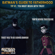 Batman vs. Robin Batman's guide to fatherhood tip 1