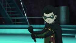 Robin prepping to spar with Nightwing