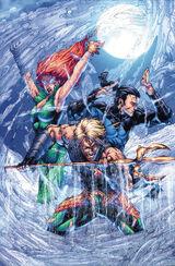 Aquaman, Garth e Mera invadindo Atlântida