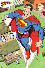 Clark experimenta o primeiro uniforme de Superman.
