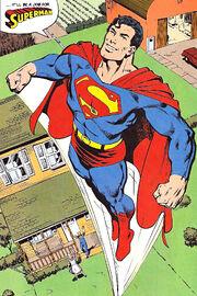 O primeiro teste de Clark do uniforme de Superman.