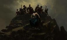 Gods sit atop Olympus