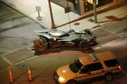 Batmobile on the set of Batman v Superman Dawn of Justice