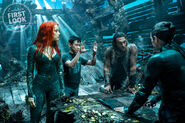 Amber Heard, James Wan, Jason Momoa and Willem Dafoe on the set of Aquaman