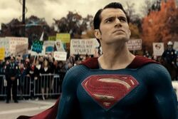 Superman arriving at the Hearing
