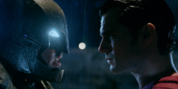 Batman and Superman face each other