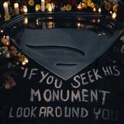 Superman logo at memorial