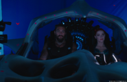 Jason Momoa and Amber Heard in a ship on the set of Aquaman