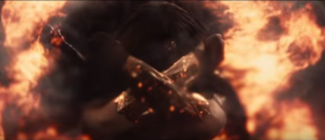 Wonder Woman deflects Doomsday's blast