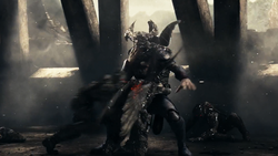 Steppenwolf attacked by Parademons
