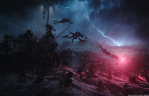 Arthur and Mera dive from a Trench-infested boat promotional still