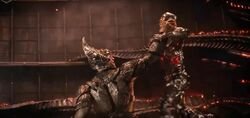 Cyborg fighting Steppenwolf