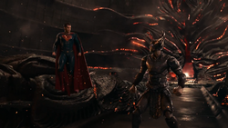 Justice League (2017) Superman confronts Steppenwolf