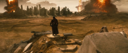 Batman stands over a wasteland