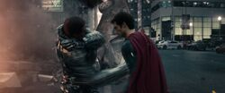 Zod beats up Superman