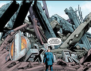 Luthor standing in front of the ruins of his old building