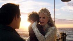 Atlanna saying goodbye to Arthur and Thomas