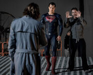 BvS-BTS - Jesse Eisenberg, Henry Cavill and Zack Synder on set