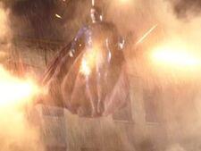 Superman attacked by Batman's machine guns