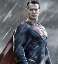 Superman - promotional - in rain