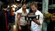 Henry Cavill and Zack Snyder on set