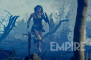 Diana runs through the battlefield