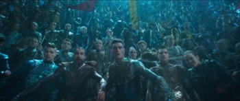 Atlantean crowd watching Arthur and Orm's battle