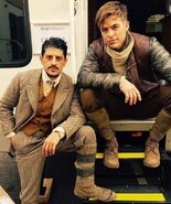 Saïd Taghmaoui and Chris Pine behind the scenes of Wonder Woman