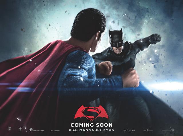 File:Batman v Superman Dawn of Justice quad poster - Batman facing Superman.png