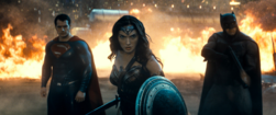 Superman, Wonder Woman and Batman stand strong