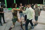 JL -BTS - Gal Gadot and Zack Snyder on set