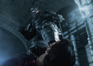 A battered Batman stepping on Superman's throat