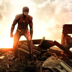 Barry en un área destruida.