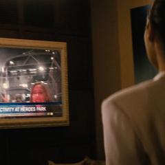 Diana viendo las noticias.