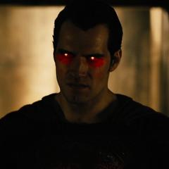 Superman cargando su visión de calor para matar a los supervivientes.