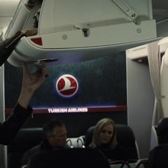 Diana abordando un avión.