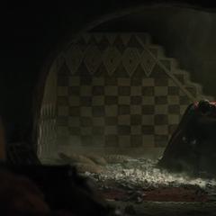 Superman llega a la guarida de Amajagh.