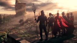La Liga de la Justicia tras vencer a Steppenwolf