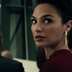 Diana mirando a Bruce Wayne.
