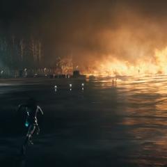 Diana corriendo hacia Ares.