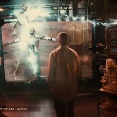 Victor transformándose en un Cyborg delante de su padre.