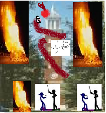 Tipton University Clock Tower Burning, being attacked by subterrean worm, people fighting,etc.