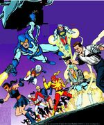Blue beetle captain atom nightshade sarge steel judomaster thunderbolt peacemaker earth 4