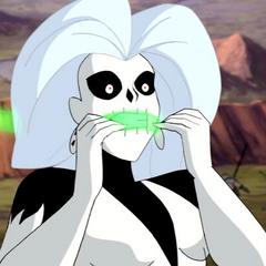 Silver Banshee gagged.